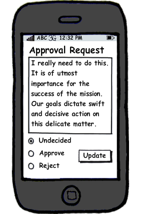 Approval with a radio and one button